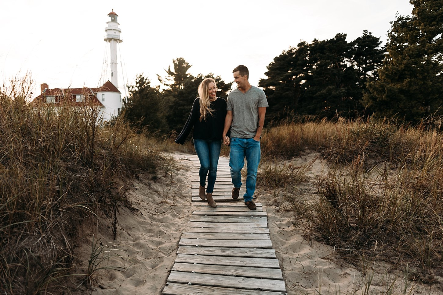 point beach state park engagement session carlee secor photography green bay wisconsin photographer